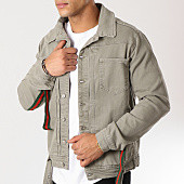 /achat-vestes-jean/classic-series-veste-jean-bandes-brodees-1186-vert-kaki-160055.html