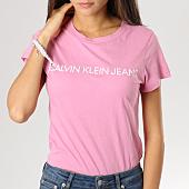 /achat-t-shirts/calvin-klein-tee-shirt-femme-institutional-logo-slim-rose-160375.html