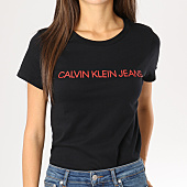 /achat-t-shirts/calvin-klein-tee-shirt-femme-institutional-logo-slim-noir-160376.html