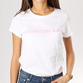 /achat-t-shirts/calvin-klein-tee-shirt-femme-institutional-logo-slim-blanc-160377.html