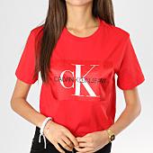 /achat-t-shirts/calvin-klein-tee-shirt-femme-monogram-box-logo-rouge-160385.html