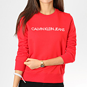 /achat-sweats-col-rond-crewneck/calvin-klein-sweat-crewneck-femme-institutional-rouge-160394.html