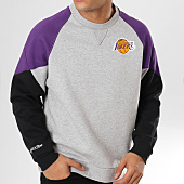 /achat-sweats-col-rond-crewneck/mitchell-and-ness-sweat-crewneck-los-angeles-lakers-trading-block-gris-chine-violet-noir-160328.html