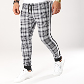/achat-pantalons-carreaux/john-h-pantalon-jogging-a-carreaux-avec-bandes-2282-noir-blanc-160478.html