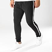 /achat-pantalons-carreaux/john-h-pantalon-jogging-raye-avec-bandes-2276-noir-blanc-160495.html