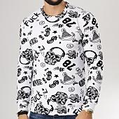 /achat-sweats-col-rond-crewneck/vip-clothing-sweat-crewneck-7011-blanc-noir-160425.html