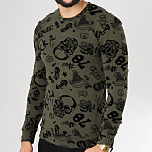 /achat-sweats-col-rond-crewneck/vip-clothing-sweat-crewneck-7011-vert-kaki-noir-160427.html