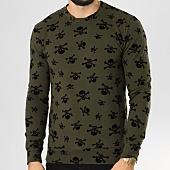 /achat-sweats-col-rond-crewneck/vip-clothing-sweat-crewneck-7018-vert-kaki-noir-160434.html