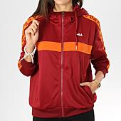 /achat-sweats-zippes-capuche/fila-sweat-zippe-capuche-avec-bandes-femme-teela-682322-rouge-orange-160782.html
