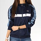 /achat-sweats-zippes-capuche/fila-sweat-zippe-capuche-avec-bandes-femme-teela-682322-bleu-marine-bleu-clair-blanc-160783.html