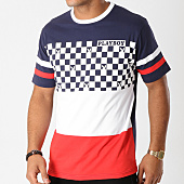 /achat-t-shirts/playboy-tee-shirt-checker-tricolore-bleu-marine-blanc-rouge-160924.html
