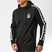 /achat-sweats-zippes-capuche/sinners-attire-sweat-zippe-capuche-bandes-brodees-poly-panel-noir-blanc-160803.html