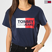/achat-t-shirts/tommy-hilfiger-jeans-tee-shirt-femme-box-logo-bleu-marine-160921.html