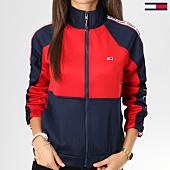 /achat-vestes/tommy-hilfiger-jeans-veste-zippee-femme-avec-bandes-zipthru-bleu-marine-rouge-160927.html