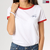/achat-t-shirts/tommy-hilfiger-jeans-tee-shirt-femme-signature-ringer-blanc-160930.html