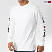 /achat-t-shirts-manches-longues/tommy-hilfiger-jeans-tee-shirt-manches-longues-logo-5546-blanc-noir-160995.html