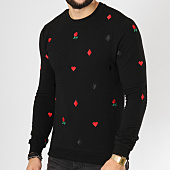 /achat-sweats-col-rond-crewneck/berry-denim-sweat-crewneck-jb18067-noir-rouge-161164.html