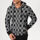 /achat-sweats-zippes-capuche/classic-series-sweat-zippe-capuche-avec-bandes-1129-gris-noir-161199.html