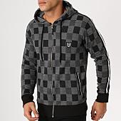 /achat-sweats-zippes-capuche/classic-series-sweat-zippe-capuche-avec-bandes-1129-gris-anthracite-noir-161201.html