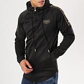 /achat-sweats-zippes-capuche/gianni-kavanagh-sweat-zippe-capuche-oversize-avec-bandes-black-scuba-noir-dore-161602.html