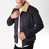 /achat-vestes/classic-series-veste-zippee-suedine-col-mouton-415-bleu-marine-161926.html