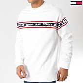 /achat-sweats-col-rond-crewneck/tommy-hilfiger-jeans-sweat-crewneck-tape-5904-blanc-162063.html