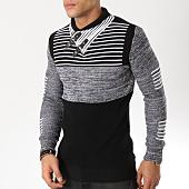 /achat-pulls/john-h-pull-avec-col-amplified-009-noir-gris-chine-162168.html