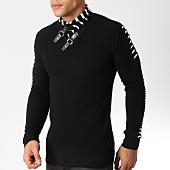 /achat-pulls/john-h-pull-col-amplified-008-noir-blanc-162187.html
