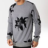 /achat-sweats-col-rond-crewneck/uniplay-sweat-crewneck-uy316-gris-chine-noir-floral-162145.html