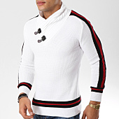 /achat-pulls/john-h-pull-avec-col-amplified-et-bandes-23-blanc-162240.html