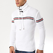 /achat-pulls/john-h-pull-col-amplified-avec-bandes-32-blanc-162245.html