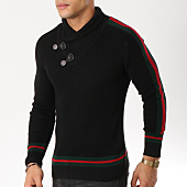 /achat-pulls/john-h-pull-avec-col-amplified-et-bandes-23-noir-rouge-vert-162247.html