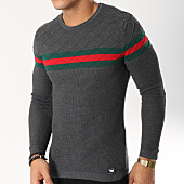 /achat-pulls/paname-brothers-pull-avec-bandes-113-gris-anthracite-chine-162253.html