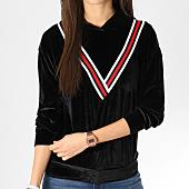 /achat-sweats-capuche/girls-only-sweat-capuche-femme-velours-avec-bandes-v2027-noir-162385.html