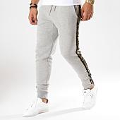 Gianni Kavanagh - Pantalon Jogging Avec Bandes Gold Lurex Gris Chiné Noir  Doré 34251dea142
