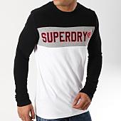 /achat-t-shirts-manches-longues/superdry--tee-shirt-manches-longues-applique-colour-block-blanc-noir-gris-chine-162980.html
