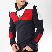 /achat-pulls/john-h-pull-col-amplified-jp-25-bleu-marine-rouge-blanc-163003.html
