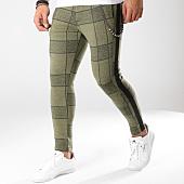 /achat-pantalons-carreaux/classic-series-pantalon-avec-bandes-18-f2516-vert-kaki-noir-163178.html