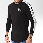 /achat-t-shirts-manches-longues/final-club-tee-shirt-manches-longues-oversize-avec-bandes-et-broderie-094-noir-163263.html