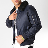 /achat-bombers/brave-soul-bomber-col-mouton-greenfield-bleu-marine-163439.html