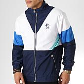 /achat-vestes/gym-king-veste-zippee-retro-shell-bleu-marine-blanc-bleu-clair-163415.html