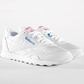 /achat-baskets-basses/reebok-baskets-femme-classic-nylon-txt-cn6684-white-blue-neon-red-163473.html