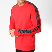 /achat-sweats-col-rond-crewneck/hugo-by-hugo-boss-sweat-crewneck-doby-avec-bandes-50405976-rouge-164291.html