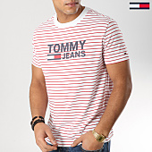 /achat-t-shirts/tommy-hilfiger-jeans-tee-shirt-stripe-signature-5835-blanc-rouge-164239.html