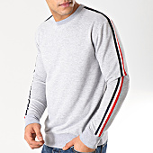 /achat-sweats-col-rond-crewneck/lbo-sweat-crewneck-avec-bandes-bleu-blanc-rouge-581-gris-chine-164343.html