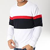 /achat-sweats-col-rond-crewneck/lbo-sweat-crewneck-tricolore-584-blanc-bleu-marine-rouge-164346.html