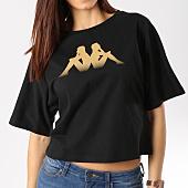 /achat-t-shirts/kappa-tee-shirt-femme-crop-afun-noir-dore-164703.html