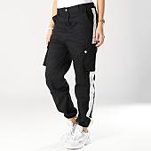 /achat-pantalons-cargo/sixth-june--pantalon-cargo-femme-bandes-satinees-w3642cpa-noir-blanc-164725.html