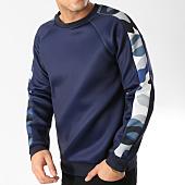 /achat-sweats-col-rond-crewneck/frilivin-sweat-crewneck-a-bandes-6037-a-bleu-marine-164757.html