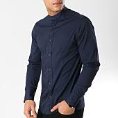 /achat-chemises-manches-longues/frilivin-chemise-manches-longues-col-mao-ca008-bleu-marine-164784.html